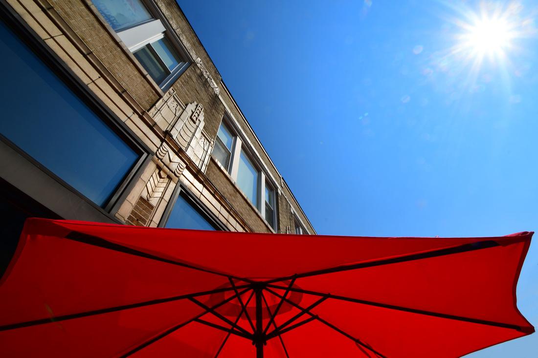Umbrella, Building, Sun
