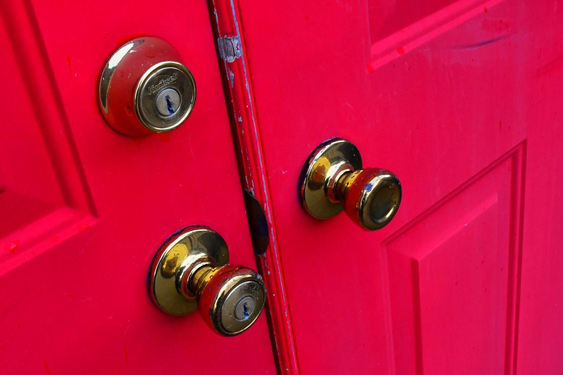 Red Door Brass Knobs